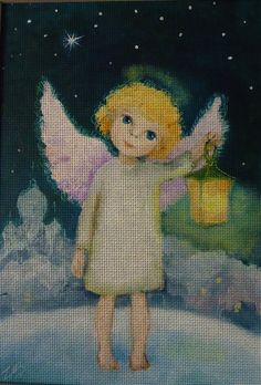 Needlepoint canvas 'Christmas Angel with tinny lantern' by Irina Kapustina
