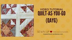 The Quilt As You Go with Wide Sashing Tutorial is great for beginner and experienced quilters alike. This video tutorial will demonstrate how to quilt as you go or QAYG. The quilt as you go technique is the easiest way to put together a quilt. Free Motion Quilting, Quilting Tips, Quilting Tutorials, Machine Quilting, Quilting Designs, Sewing Tutorials, Sewing Projects, Video Tutorials, Sewing Tips