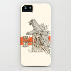 Godzilla vs. the Brooklyn Bridge iPhone & iPod Case by Andrew Henry - $35.00