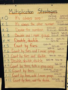 12 of Our Favorite Multiplication Anchor Charts - Unterrichtsfächer Multiplication Anchor Charts, Multiplication Strategies, Math Anchor Charts, Math Strategies, Math Tips, Teaching Multiplication Facts, Division Anchor Chart, Math Fractions, Maths 3e