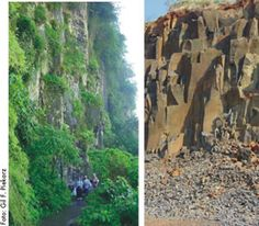 Porção central do derrame de basalto, compostas por rochas compactas, chamadas de basaltos maciços. Durante a solidificação desenvolve-se um sistema subvertical de fraturas, chamadas de disjunção colunar, que dividem a rocha em colunas verticais. Serviço Geológico do Paraná - Mineropar