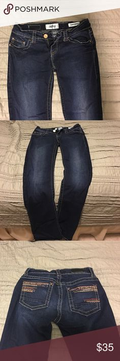 Daytrip Jeans Dark DayTrip Jeans for sale! Perfect for fall! In good condition some of the rhinestones have fallen off of the pockets! Super stretchy and comfortable! Make an offer! Daytrip Jeans