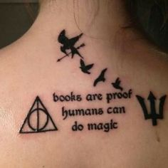 Harry Potter, Hunger Games, Divergent tattoo.  Percy Jackson too, but I would replace it with the sword of Raziel or something from City of Bones.