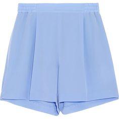 Stella McCartney Zanda silk crepe de chine shorts ($280) ❤ liked on Polyvore featuring shorts, bottoms, skirts, pants, blue, stretch waist shorts, blue high waisted shorts, pleated shorts, stella mccartney and blue shorts