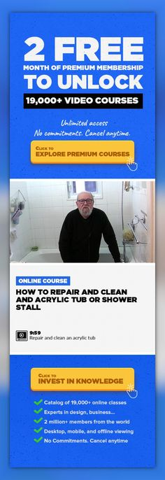 How to repair and clean and acrylic tub or shower stall Health & Wellness, Lifestyle #onlinecourses #LessonPlans #makemoneyonlinebusiness   Acrylic tubs are great but after you've dropped your shampoo bottle several times and had that soapy bath several hundredtimes the finish is dull, stained and chipped. Bring your tub or stall back to its shiny life without having to replace it. In this video...