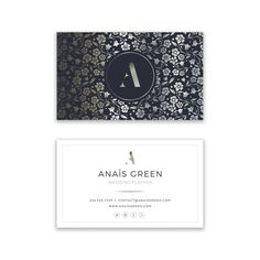 Luxury Business Card Design  Elegant Silver Floral by VisualPixie