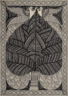 Peacock Pair with Tree of Life, Folk Art Madhubani Painting on Hand Made PaperFolk Painting from the Village of Madhubani (Bihar)Artist: Bachi Devi Madhubani Art, Madhubani Painting, Tree Of Life Artwork, Kalamkari Painting, Indian Folk Art, Traditional Paintings, Indian Paintings, Mandala Art, Mandala Design