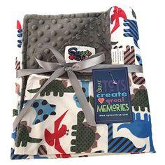 Baby Boys Reversible Minky Velboa Stroller Blanket, Dinosaurs / Grey