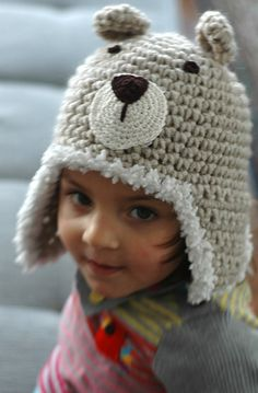 Puffy Teddy Bear Earflap Hat
