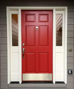 Best Door Paint Colors Ideas for Modern House. Ideas For Red front Door Design. Front Door Paint Colors, Painted Front Doors, Front Door Design, Red Front Doors, Exterior House Colors, Exterior Doors, Entry Doors, Exterior Paint, House Doors