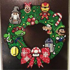 Gaming Christmas wreath perler beads by jfkeeling