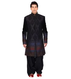 Embroidered & Long from By at Wedding Sherwani, Embroidered Silk, Indian Ethnic, High Neck Dress, Study, Velvet, Coat, Black, Dresses