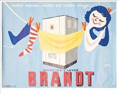 Vintage French Advertising Poster Washing Machine BRANDT by Hervé MORVAN
