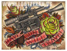 Star Wars Hans Solo Blaster Digital Print. $25.00, via Etsy.
