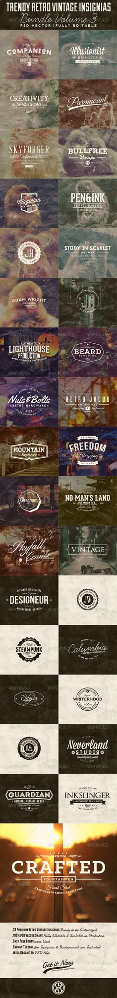 33 Trendy Retro Vintage Insignias Bundle Volume 3 - Badges & Stickers Web Elements