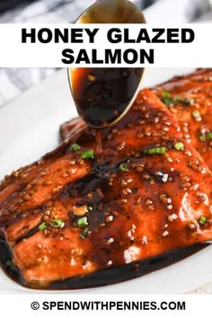 Honey Glazed Salmon is so easy to make, and takes less than 30 minutes! Serve with rice and roasted broccoli for a light, delicious meal! #spendwithpennies #honeyglazedsalmon #recipe #entree #baked #easy #best