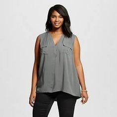 Women's Plus Size Sleeveless Popover with Pockets - Ava & Viv : Target