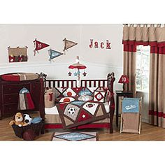 @Overstock - This All Star Sports crib bedding ensemble by JoJo designs creates a fun sports theme room for your child. This striking baby bedding set features sports-themed detailed embroidery and applique details on cotton and microsuede fabrics.http://www.overstock.com/Baby/All-Star-Sports-9-piece-Crib-Bedding-Set/5298418/product.html?CID=214117 $189.99