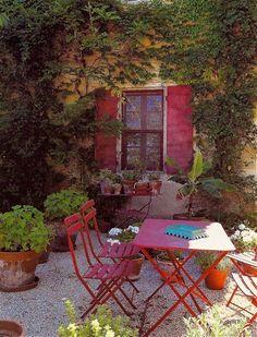 French Garden Furniture, Vintage French, French Garden Ideas, pots, courtyard, shutters.. Beautiful french courtyard design x