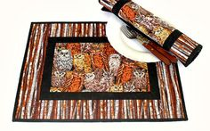 Owl Placemats Quilted Fall Placemats Fabric by RedNeedleQuilts