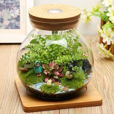 子樂灣苔蘚微景觀植物生態瓶辦公室創意迷你盆栽微縮景觀龍貓擺件