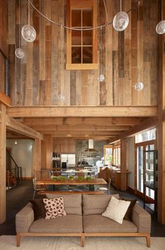 reclaimed barn wood walls - interior windows in closed in loft? Modern Country Kitchens, Rustic Kitchen, Kitchen Country, Open Kitchen, Diy Kitchen, Converted Barn Homes, Reclaimed Barn Wood, Repurposed Wood, Weathered Wood