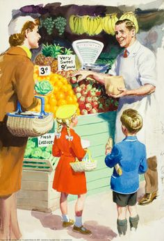 Buying fruit  - Shopping with Mother - Ladybird Books 1958