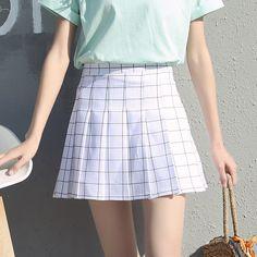 plaid skirt Harajuku skirt Korean Mini A-line skirt – omnia cloth Summer Fashion For Teens, Summer Fashion Outfits, Fashion 2018, A Line Skirts, Short Skirts, Mini Skirts, Plaid Pleated Skirt, Plaid Skirts, Plaid Fashion