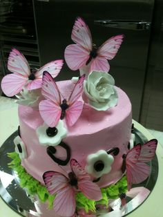 Butterfly & Blossoms Birthday Cake - with matching cupcakes triflescakes.com