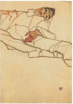 "tekiela: "" Liegender Max Oppenheimer, 1910 - Egon Schiele """