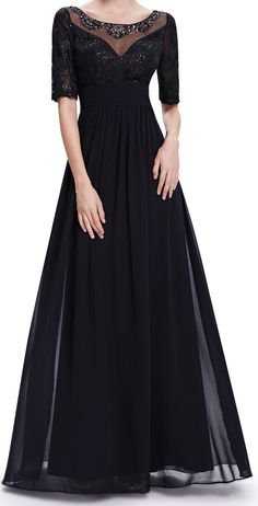 Sequins black evening dress