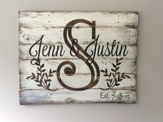 Monogram Sign on Reclaimed Pallet Wood by SignsfromthePines