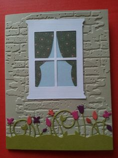 Card made with Tim Holtz brick wall embossing folder and Memory Box Dies