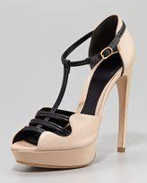 nude peep toe heels t-strap-alexander mcqueen twotone leather platform sandal
