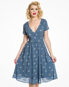 'Kasha' Pale Blue Swan Print Tea Dress | Vintage Inspired Fashion | Lindy Bop