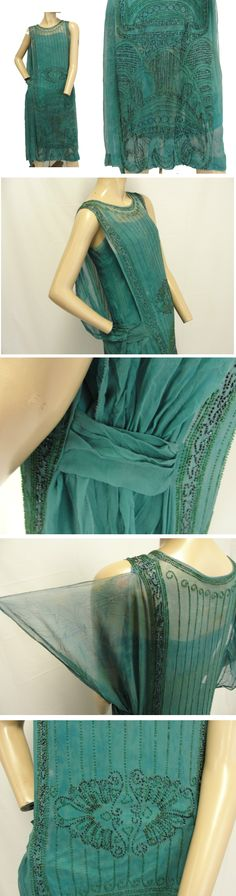 ~Dress, 1920s. Sheer Silk Crepe with Green & Smokey Black Iridescent Glass Beading detail. Crepe & Cotton sateen Under slip satin shoulder straps attached to interior upper shoulders~