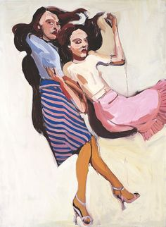 Chantal Joffe, Two Brunettes, oil on board. 2004.