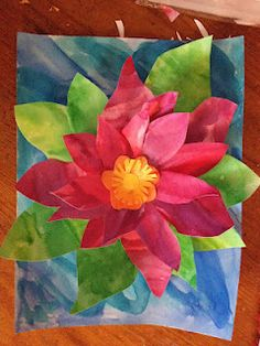 Spring has Sprung! Flower Art Project Monet water lilies. Would make a beautiful hall display on a blue paper background.