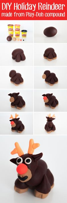 How to make a cute DIY Holiday Reindeer using the Play-Doh Super Color Pack. Inspiring kids creativity for the holiday season! #ad