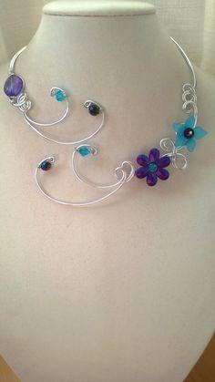 Wedding jewelry Aluminium wire necklace by LesBijouxLibellule