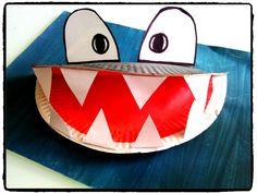 requin, animaux, océan, mer, bricolage enfant, assiette en carton