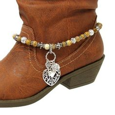 Fashion Jewelry ~Turquoise Red and Silver Beads Accented with Heart and Key Charm Pendant Boot Charm Anklet (Style Boot Charms , beads shop Boot Jewelry, Anklet Jewelry, Rustic Jewelry, Beaded Anklets, Western Jewelry, I Love Jewelry, Jewelry Making, Jewlery, Horse Jewelry