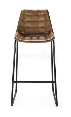 Taburete vintage alto, fabricado en piel acolchada, cosido trenzado en todo el perímetro de la carcasa y tachuelas Estructura de tubo de acero pintado e
