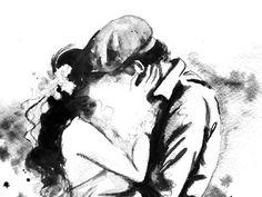 Love Romance Kiss Print from Original Watercolor by LanasArt