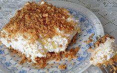 Ce délicieux gâteau aux ananas est construit sur une croûte Graham et contient du fromage à la crème et de la crème fouettée! Très facile... Pineapple Dream Cake, Biscuits Graham, Cheesecakes, Frosting, Sweet Tooth, Oatmeal, Deserts, Brunch, Fruit