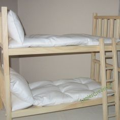 American Girl Doll Bed 18 Inch Wood Doll Bed With Ladder - 2 Singles Or Bunk Bed…