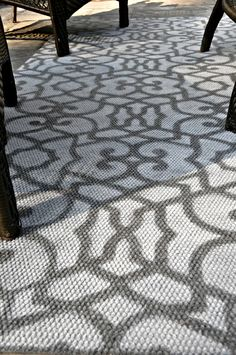 graphic print rug with spray paint and stencil