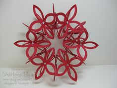 handmade paper ornament ... Lattice Die lacey ball in deep red with jewels ... Stampin' Up!