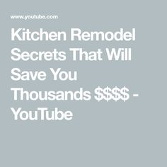 Kitchen Remodel Secrets That Will Save You Thousands $$$$ - YouTube Diy Kitchen Cabinets, Kitchen Reno, Kitchen Remodel, Building An Addition, Quartz Counter, Luxury Vinyl Flooring, Building Code, Cleaning Hacks, Save Yourself