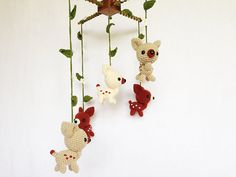 Baby mobile Little Bambies in the green wood by IvoryTreeHouse